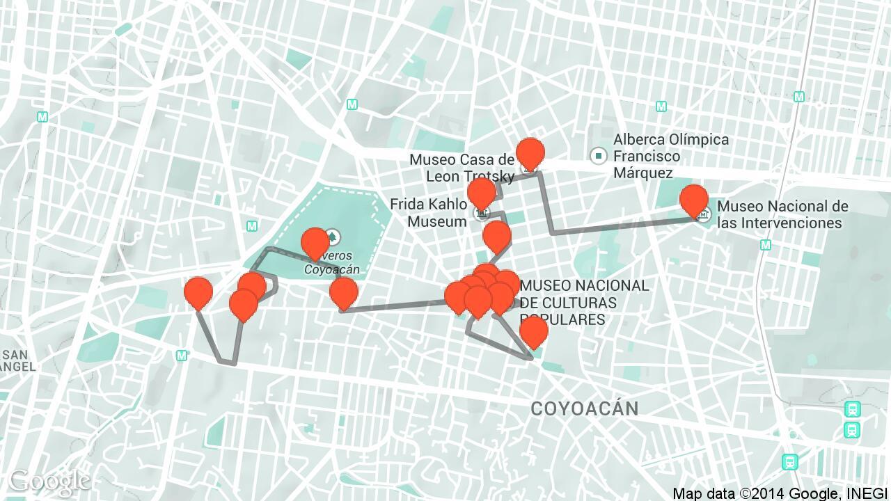 Afbeeldingsresultaat voor mexico city kahlo map
